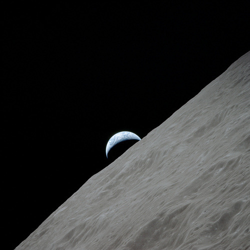 Apollo 17, Earthrise over Moon by NASA Goddard Photo and Video on Flickr.Via Flickr: View of the crescent Earth rising above the lunar horizon over the Ritz Crater. Image taken during the Apollo 17 mission on Revolution 66. Original film magazine was labeled PP. Film type was SO-368 Color Ektachrome MS CEX,Color Reversal, 250mm lens., Longitude 98.2 East, Azimuth 264, Altitude 113 km. NASA Identifier: as17-152-23274