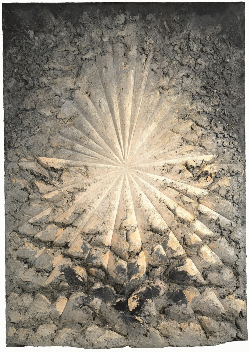 "likeafieldmouse:  Jay DeFeo - The Rose (1958-69) ""The story of Jay DeFeo and The Rose is both a cautionary tale of obsession and an inspiring tale of determination and belief. She began working on The Rose in 1958. She was 29 years old and for the next eight years, she did little else but sit on a stool in her studio, smoking cigarettes, drinking brandy while she painted and scraped away at her vision. First titled The Deathrose, then The White Rose and finally just The Rose, DeFeo only stopped working on the painting when an increase in rent forced her from her studio. By then it was 1966, her marriage was ending, she was in fragile physical and mental health, and The Rose had become too large to fit out the door.  At nearly 12 feet high and in places eight inches thick, The Rose was constructed from layer upon layer of built up and scraped away black and white paint. DeFeo added mica chips to the paint and so The Rose has its own interior light."""