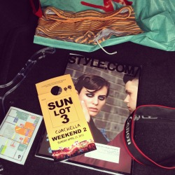 Not-so-random items in my trunk. @styledotcom @hm @mrturk #coachella #canon