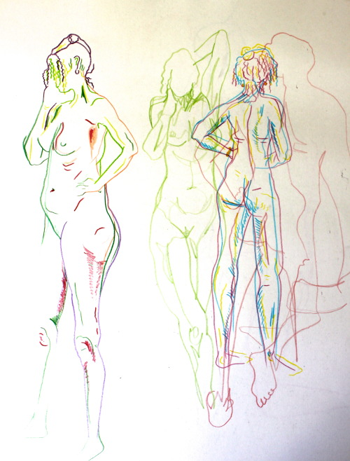 Life drawing with colour.