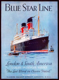 "sailorgil:  "" Blue Star Line ""  …  Vintage Travel Poster [1930's]"