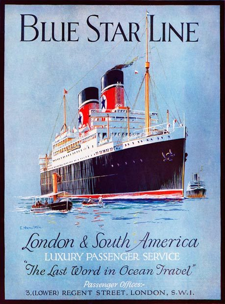 """ Blue Star Line ""  …  Vintage Travel Poster [1930's]"