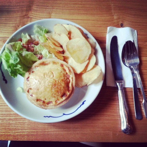 Steak and cheese pie for #lunch  (at Group Therapy)