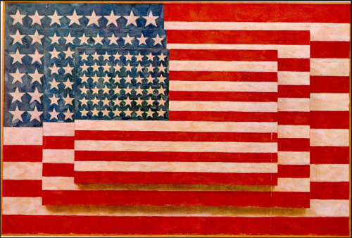 Materialism, consumerism and the wealth of post-WW2 USA.   Jasper Johns, influenced by the psychological writings of Witgenstein, and according to himself he was 'interested in things which represent the world'. Through using the encaustic technique he could create an elabroate and expressive surface. Three Flags is the ultimate Dadaist gesture and shows influences of Duchamp's Large Glass along with the gestural marks of Abstract Expressionism. The choice of representing flags indicates a stereotypical Pop Art attempt: representing the most banal and easily recognisable subject matter possible.