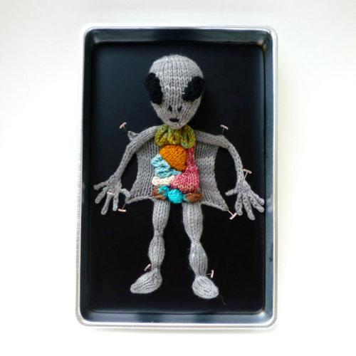 Knitted Alien Autopsy by Emily Stoneking