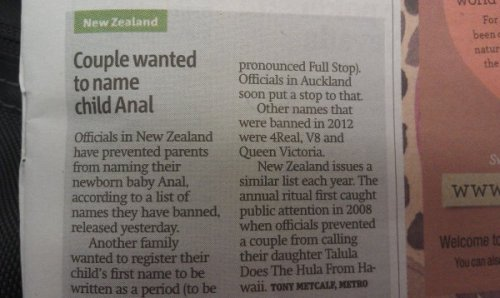 collegehumor:  New Zealand, Stop Trying To Name Your Kids Anal The fight to give anal a good name continues.