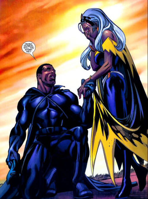 beautiful-ambition:  nzingambande:  cultureunseen:  STORM & Black Panther…  The Marvel Universe is slowly winning over me with this Storm and Black Panther.  Actually Marvel had Storm & BP divorce smh. Their Black Love was too powerful I suppose