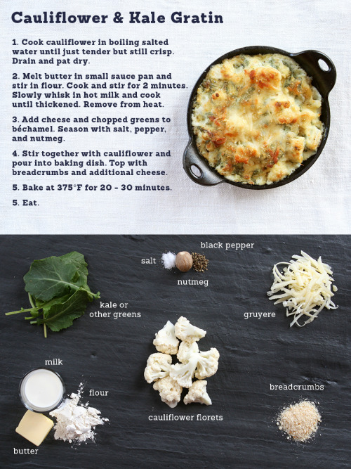 womaninterrupted:  madeweekly:  This is a take on the classic cauliflower and cheese sauce that I grew up eating, but baked for a nice crunchy topping. I threw in some kale so I could feel a little better about it, but make no mistake, this is a rich dish!  Here's a nice tutorial on making béchamel from The Kitchn, if you're not sure of the process. For a whole head of cauliflower you might need 1/3 - 1/2 of the amount this recipe calls for, but it's all based on proportions so it's easy to modify! I used 1T. butter and 1T. flour with about 1 cup of milk for half a head of cauliflower…it's pretty forgiving though.   I'll be making this very soon.