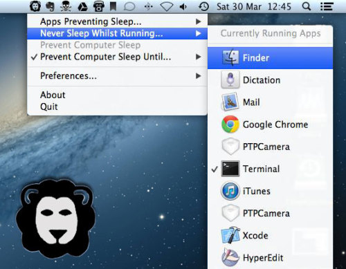 Wimoweh for Mac OSX is a menu bar application that allows you to have better control over how your Mac sleeps (freeware)