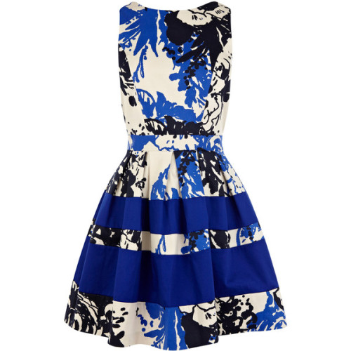 OASIS Print And Plain Bandeau Dress   ❤ liked on Polyvore (see more color block dresses)