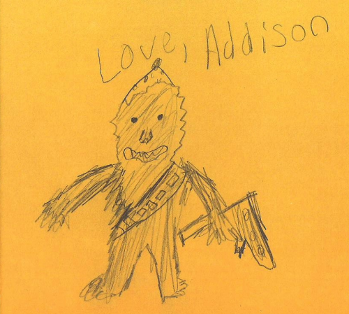 eatsleepdraw:  Chewbacca for John's birthday. by Addison, age 10