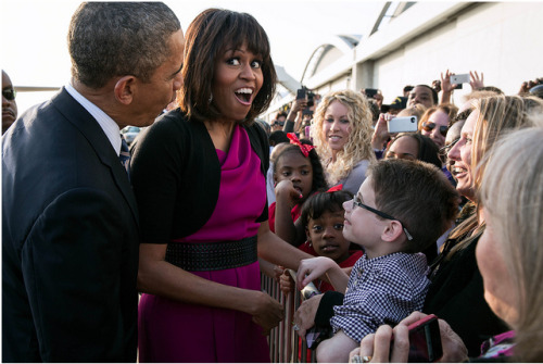 This picture of the FLOTUS and the President greeting kids at the Love Field Airport in Dallas on April 24 will make your Monday much better.