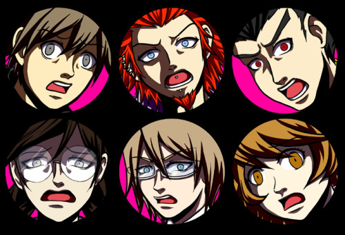 I was gonna make some Dangan Ronpa buttons but I don't like how they're turning out and I can't figure out what to do so I'm probably gonna drop them. Making buttons that aren't boring heads in circles is hard.