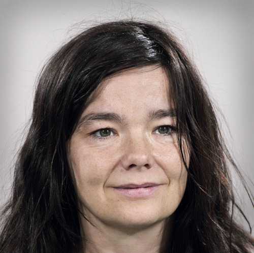 Björk looking at Marina Abramović in The Artist is Present, 2010