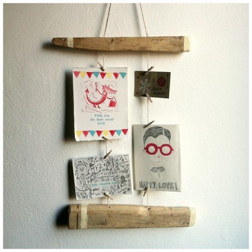 First #handmade #wood #postcard #hanger #DIY by morningcreativity.com