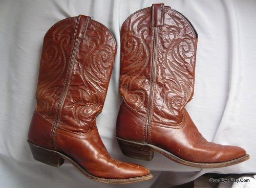 Home grown…vintage 80s Flame stitched western boots..leather sole, leather lining, made in the US of A…Code West Boots.. @ www.GoodEye.Etsy.Com