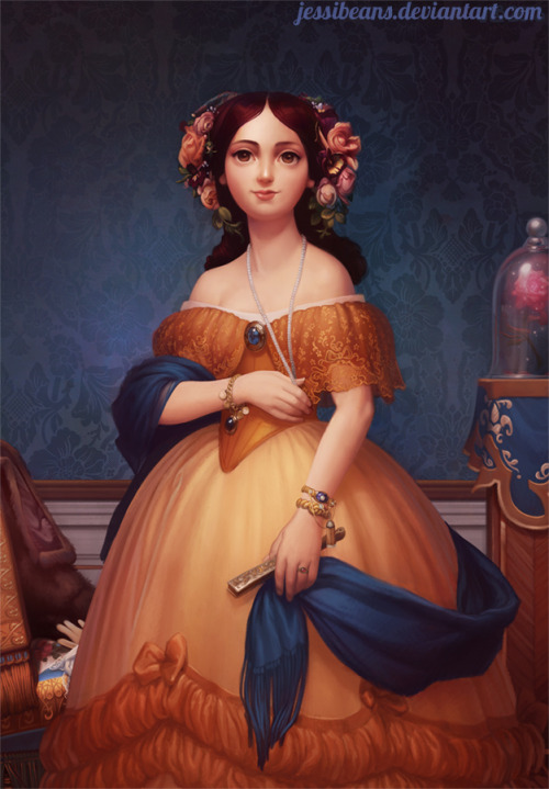 "jessihasbeans:     Belle (Beauty and the Beast) based on ""Madame Paul Sigisbert Moitessier"" by Ingres jessibeans.deviantart.com"