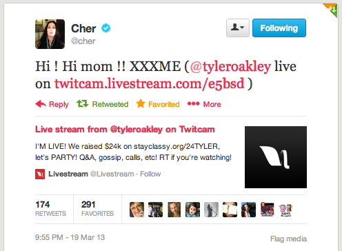 Remember when Cher dropped into my TwitCam? Normal.