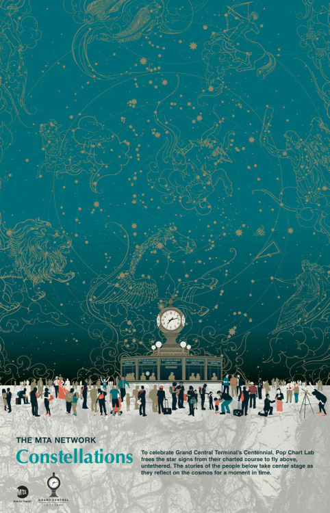 laughingsquid:  Constellations, Commemorative Poster for the 100th Anniversary of Grand Central Terminal