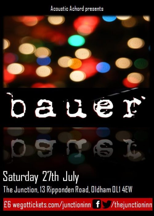 Tickets onsale now for Bauer Unplugged @ The Junction, Oldham. Very limited capacity.