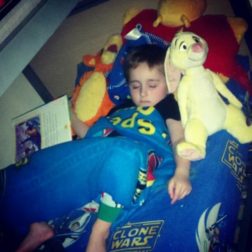 I assure you, this is #AAMilne 's biggest fanboy.  He fell asleep with #Pooh book in hand, surrounded by #Rabbit #Tigger and Pooh. #Disney