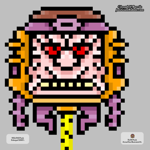 (MODOK) Monday New Art — MICRO PIXEL MODOK (My Original Art) HOOFA and HOWDY Roboteers!! You've read that header right… here is ANOTHER MODOK Monday New Art mindblasting your face and eyeballs! Here is a 3rd MODOK (if you count my animated one) that I created of MODOK for MARCH MODOK MADNESS! Behold the mindblasting madness of MICRO PIXEL MODOK! I drew him at 31x36 pixels and then upscaled him in Photoshop to 992x1146 pixels. Check out the post on MARCH MODOK MADNESS here! As many of you my dear Roboteers know, I have many art styles; one of my favorite styles to draw in is in pixel art. This submission has both the actual illustration size I drew this sucker in along with a massive version. Please enjoy it as much as I did creating it. Click here to check out all of my MODOK artwork I've posted so far! Like my original illustrations? Click here to see all of my Monday original art posts!! MODOK copyright Marvel Comics. Illustration and design, copyright Joseph V. Barrile — JoesGiantRobots.com ~Joe