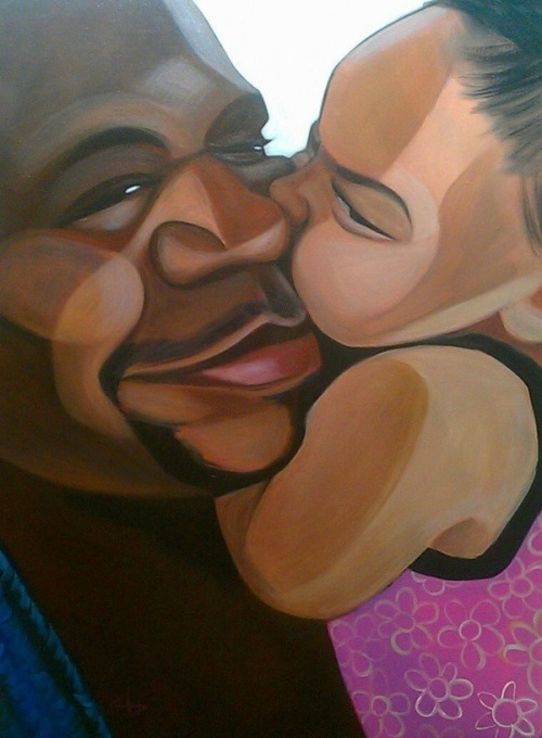 jkheartsandstuff: Daddy's Little Girl 😘  I love this painting. After I took in the loving image, I wondered why is this baby girl's eyebrows so fierce though! LOL. Love this. <3