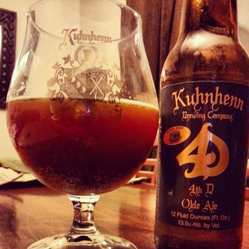 #KuhnhennBrewing 2012 #BarrelAged #4thD #OldAle. #ACBW #CraftBeer #ProperGlassware. Special thank you to @the_beer_truck, you're awesome! (at Two Towers)