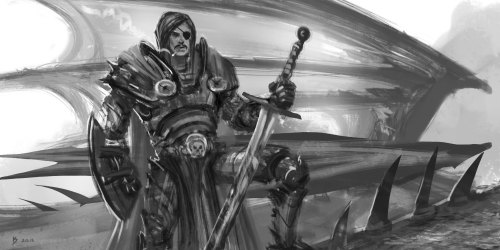 Dragonslayer knight sketch. Nothing says badass more than an eye-patch and a moustache :)