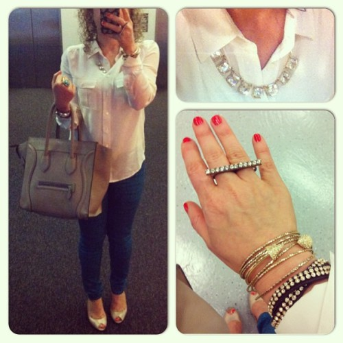 #ootd {@rag_bone pants + @jcrew shirt + @chloeandisabel #jewelry + #Celine} #fashion #outfit #outfitoftheday #style #streetfashion #styleguide #photooftheday #jcrewaddict  (at Equinox)