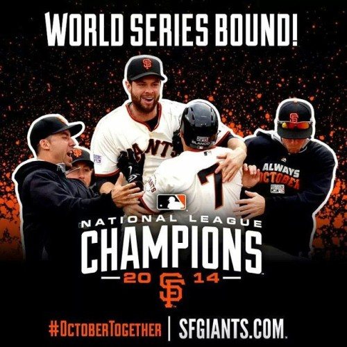 NL CHAMPS!!!! #SFGiants #OrangeTogether Bring on the Royals!!!!!