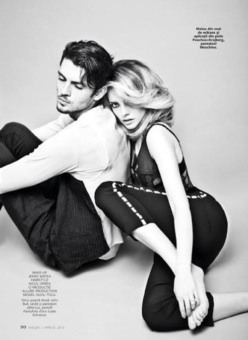 Silviu Tolu and Alexandra Dinu.  InStyle Romania April 2013 by Tibi Clenci.  Fashion editor Amir Dobos.