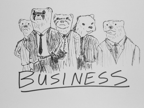 A group of ferrets is called a business.This group of ferrets is a legitimate business