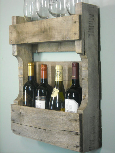 More pallet porn:  Wine racks made from pallet wood. Adding to our repurposed-pallet Pinterest board. (photo via MyBrothersBarn on Etsy)