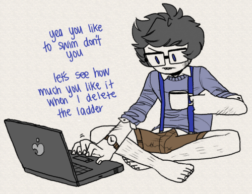 sircuddlebuns:  john egbert is a mature adult  And then he realized that the building part of sburb isn't quiiiite like the sims, and as such, the now furious Jade has managed to climb out of the pool and is coming for him.