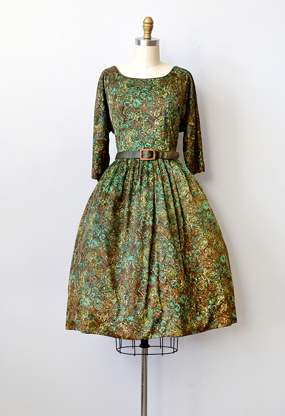 Style Option: Love Vintage? 1950s Green Print Dress With Bow Belt, $128 — via adoredvintage.com
