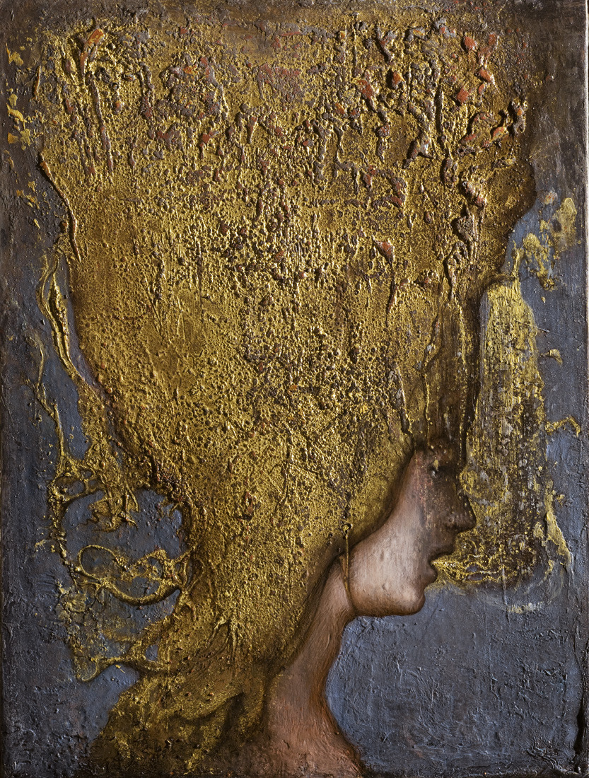 no title. 2013 oil gold leaf on wood . cm 47 x 35 www.agostinoarrivabene.it