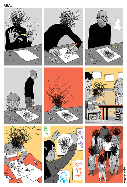 electrikmuse:  Putting it down on paper byAsaf Hanuka Ideas are transmissible.