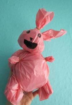 HAPPY EASTER HERE IS A RIDICULOUS PINK PLASTIC BAG BUNNY