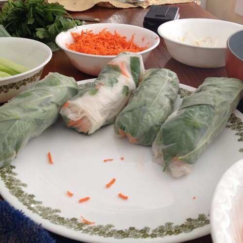 Thai Fresh Spring Rolls from scratch! I'll have the recipe and instructions on my blog tonight: www.theheartyserving.com