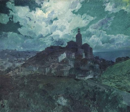 blastedheath:  Eliseo Meifrén y Roig (Spanish, 1859-1940), Noche en Cadaqués. Oil on canvas, 130.1 x 151.1 cm.