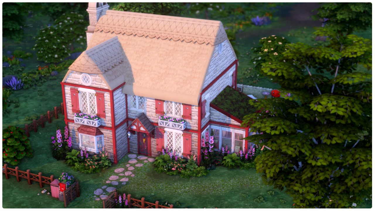 Finished Holly and Dosinia's future house 💖🌹🌷 #ts4 #idk what to tag pictures of builds as azceqwwd bc like. its not up for download lol  #mirror bpr extras #bprextras #i love the kinda pinky-purple evening lighting in this neighborhood