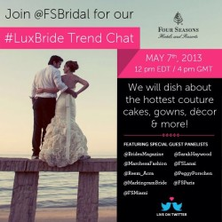 Calling all LuxBrides! Have a wedding question? @FSBridal and our panel of wedding experts will answer live today at 12pm EDT (in one hour). Follow the hashtag #LuxBride in one hour to join the Twitter chat of the season!