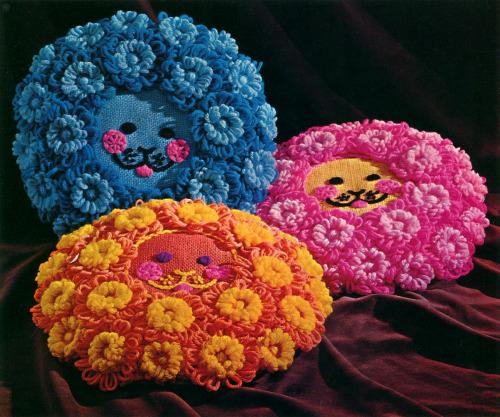 thegroovyarchives:  1972 Studio Twelve Designs Lion Floor Pillow Design