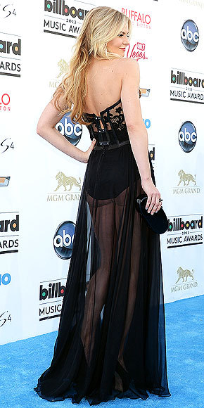 "Better From The Back? Jennifer Morrison at the Billboard Music Awards Whoa! It was so nice of a Vegas showgirl to loan Jennifer her lingerie and completely sheer skirt to wear. Kidding, it's actually a super-sexy Kristian Aadnevik ""dress"" — see it from all angles here!"