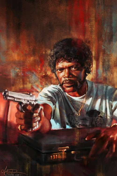 "arcleife:  Pulp Fiction by `alicexz ""The truth is… you're the weak, and I'm the tyranny of evil men. But I'm trying, Ringo. I'm trying real hard to be the shepherd."" – Pulp Fiction (1994)"