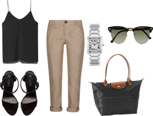 Untitled #915 by jadoremegan featuring j brand pantsZara  top / J Brand  pants, $325 / Zara ankle tie sandals / Longchamp  handbag / Cartier stainless steel jewelry / Ray-Ban