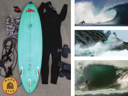 "wornwear:  FCD Surfboard  Keith Malloy, Ventura, California Dear Patagonia, About eight years ago I ordered this 6'6"", Green, FCD Surfboard. I had no idea that I would eventually get some of the best barrels of my life on this board. Eight years may not seem that old, however, for the life of a surfboard getting ridden in big waves, this is an eternity. This board has been packed and unpacked countless times and has traveled around the globe with me. It has been on two boat trips through Indonesia, Teahupoo Tahiti, Cloudbreak Fiji, The Wedge in Newport Beach, North Shore of Ohau, the Pacific Northwest, Nicaragua, Norway and too many places I can't even remember. The most incredibly remarkable thing about this board is that it has never even had a ding! One of my best rides on this board was at the Wedge in Newport Beach, California. I had gone down there to shoot the bodysurfing movie on a huge south swell and brought this board just in case I had time to surf. I got there at sunrise and the waves were massive. All the bodysurfers were waiting for the blackball which starts at 8. So I grabbed my green board and headed out into the empty, semi-surfable Wedge bombs. I got a good set and thought for sure I was going to be pulverized, but my trusty board navigated through! Probably one of the meanest lefts I've ever gotten in California. I got one of the best Indo swells and barrels of my life at the ""Hole"" on this board. This board also survived a double overhead Tahiti swell as well as a perfect swell at Cloudbreak. I have quite a bond with this board considering it has accompanied me through all these travels, swells and waves. We have been through a lot together. Looking forward to the next eight years. ―Keith"