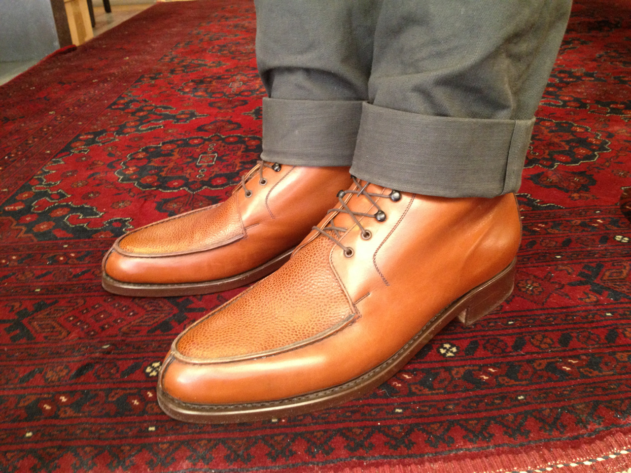 Vass Norweger Boot in Cognac Boxcalf and Scotchgrain