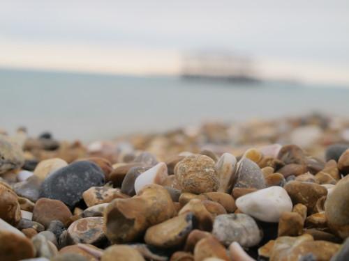 Brighton's beautiful beach, with her burnt amusement park.